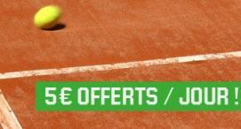 5 € offerts sur le tennis par Unibet... chaque jour !